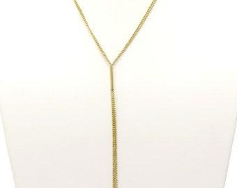Estate Long Tassel Lariat Necklace / 14k
