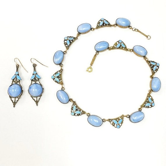 Art Deco 1930s Czech Glass and Enamel Necklace and