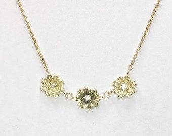 Vintage 1970's Flower Necklace / 14k / Center Diamonds