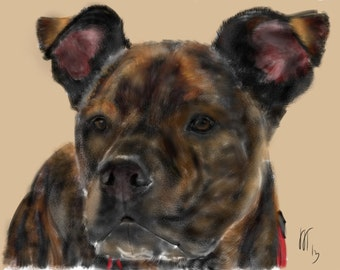 Custom Dog Portrait, custom pet portrait, custom portrait, Art & collectibles, dog lover, dog art, dog memorial, bulldog, mastiff, dog, pet