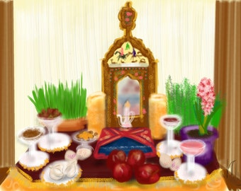 Art & collectibles, Persian New Year, Nowruz, Digital Image, artwork, art print, wall art, painting, holiday, spring, Nowruz, flowers, fish