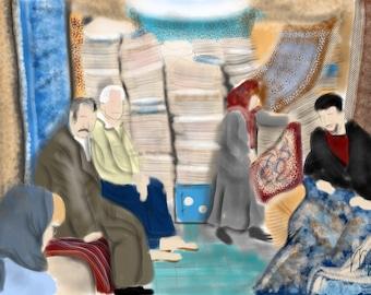 Iran Isfahan Bazaar, wall art, art print, artwork, painting, carpets, table cloths, merchant, Persian, Iran, shopping, vacation, middle east