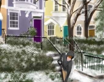 Art & collectibles, Winter, Capitol Hill, artwork, painting, DC, Washington DC, row houses, townhouse, Capitol Hill, snow, purple door