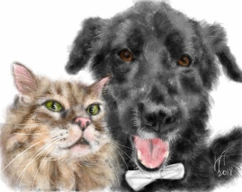 Custom Dog Portrait, Custom Portrait, Dog Lover, Two Pets, Pet Art, Pet Loss, Pet Memorial, Pet Lover, Digitalart, Cat, Custom Dog and Cat