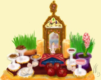 Art & collectibles, Persian New Year, Happy Nowruz, artwork, painting, wall art, card, Nowruz, spring, hyacinth, celebration, haf sin