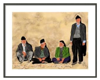 Art & collectibles, Iran, Yazd, wall art, artwork, art print, painting, Persian, clay house, chatting, conversation, green jacket, beard
