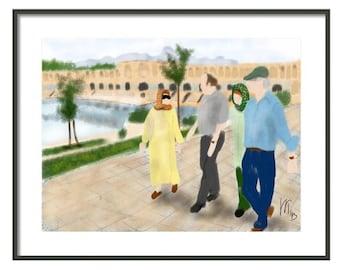 Iran Khajou Bridge in Isfahan, wall art, artwork, art print, painting, Iran, Persian, Art & collectibles, zayendah rud, river, palm trees,