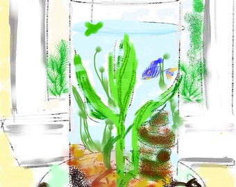 Art & collectibles, A Tiny Fish Tale, Fish Bowl, wall art, painting, Betta fish, Betta, blue Betta, aquarium, fishbowl, child art, green