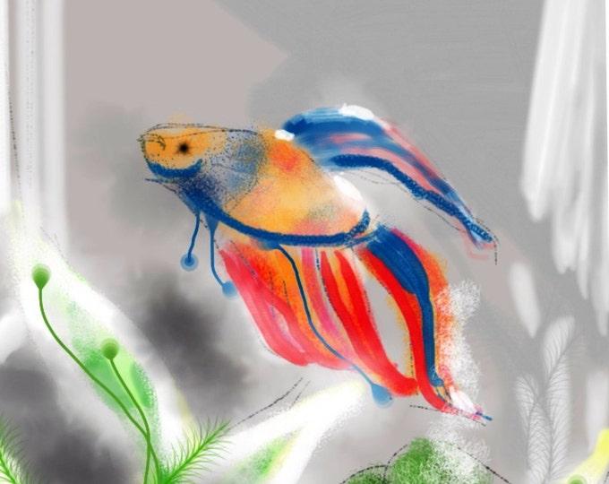 Featured listing image: A Tiny Fish Tale - Blue to Red, wall art, art print, artwork, painting, Betta fish, Betta, rainbow, aquarium , fishbowl, red, fish tank