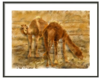 Iran Camels, wall art, artwork, art print, painting, Iran, Art & collectibles, animals, Persian, Middle East, gold and brown, two camels