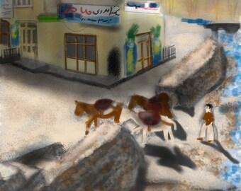 Iran, Art & collectibles, artwork, wall art, art print, painting, tea, Iran, Persian, photo to art, printable, digital, teahouse