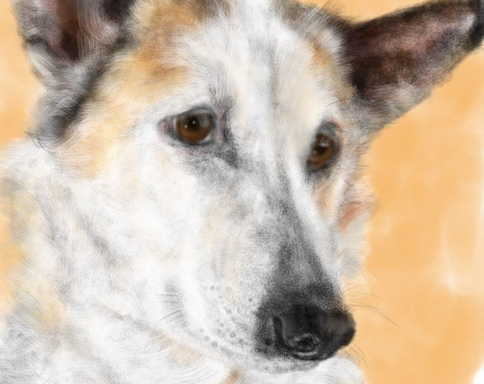 Featured listing image: Custom Dog Pet Portrait, custom portrait, dog portrait, pet portrait, dog lover, dog art, gift, wall art, dog, artwork, pet memorial, pet