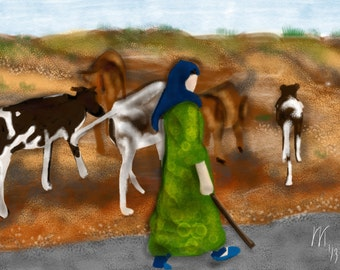 Iran Shepherd Cowgirl, wall art, artwork, art print, painting, Iran, Middle East, green dress, cows, black and white, Persian, vacation