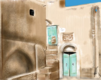 Iran, Art & collectibles, wall art, artwork, art print, painting, Persian, Middle East, dessert, clay, turquoise, dusty, summer, vacation