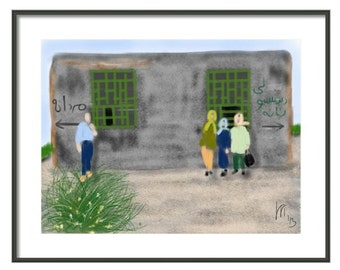 Iran, art & collectibles, wall art, art print, artwork, painting, Persian, Middle East, vacation, road trip, scarves, green, women, man