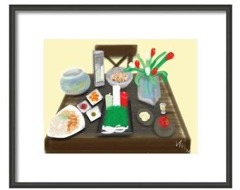Persian New Year Digital Image, wall art, artwork, art print, Art & collectibles, nouroz, flowers, fish, candles, sumac, apple, mirror