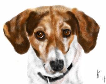 Custom Dog Portrait, custom portrait, dog portrait, pet portrait, dog lover, dog art, dog memorial, artwork, beagle mix, dog, art print, pet