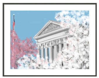 Supreme Court, Spring, Art & collectibles, art, art print, artwork, Washington DC, cherry blossoms, spring, blue sky, marble building, DC