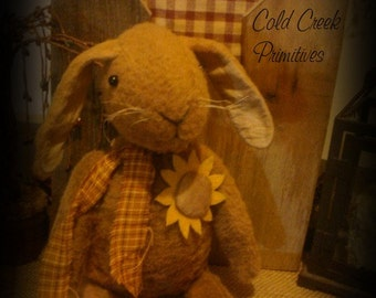Primitive Folk  Bunny  with Sunflower