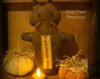 Primitive Cat Halloween Stump Doll