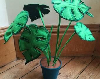 862e3420d80 Monstera - Botanical, handmade, felt Monstera potted plant, fabric house  plant, textile plant, choose your own pot colour