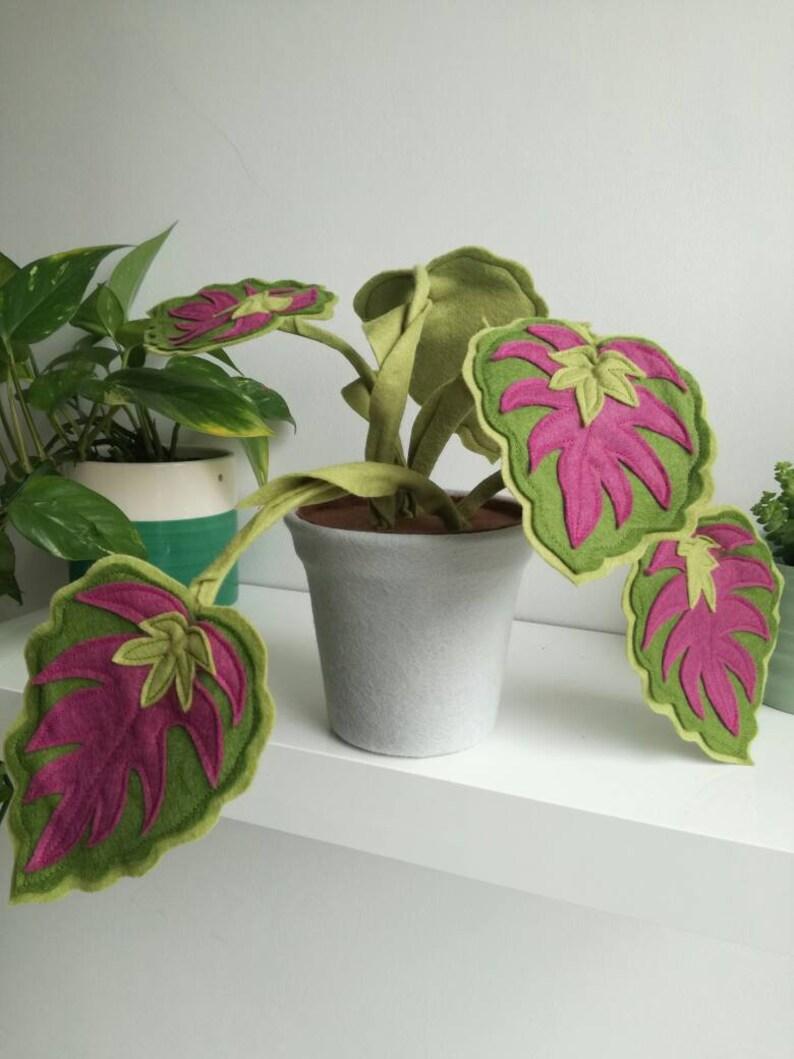 Pink Leaves Beautiful Handmade Felt Plant Houseplant Potted Etsy