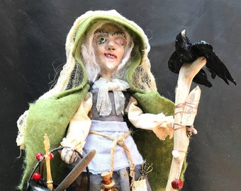 Witch Halloween Hag Witch figure Creepy Old Witch decoration OOAK Collectible Art Doll Halloween Witch Cauldron crow bottles bones decor