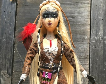 Halloween Witch Doll Decoration Smart pretty Witch OOAK Art Doll Collectible Viking Nordic blonde Halloween Witch Potions skulls decor
