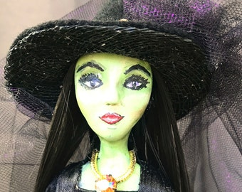 Witch Collectible Halloween Witch Decoration Assemblage Art Candlestick Doll Beautiful green skin Mercury Glass OOAK handmade Halloween Doll