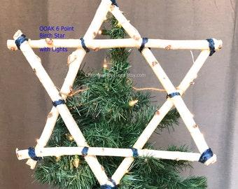 Star of David Hanukkah Lighted star Chrismukkah tree topper Natural Birch Hanukkah wall decor Holiday tree 6 point handmade tree star Lights