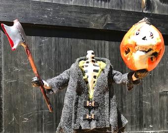 Headless Horseman Halloween Decoration Skeleton Sleepy Hollow Axe Blood Goth Gore Decor Halloween Clay Skeleton OOAK Poseable Art doll