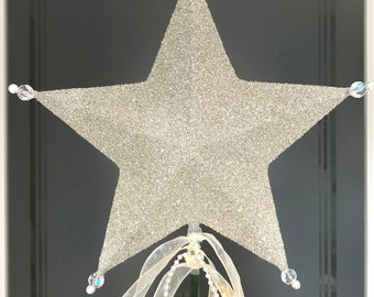 """Retro Christmas Tree Topper Star Silver Glass Glittered Star Topper Holiday Vintage Cottage Shabby Christmas tree topper Star 9 or 10"""""""