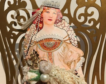 Angel Tree Topper Assemblage Collage Angel Gold Laser cut Wings Art Nouveau Mucha Reverie Christmas Floral Bow Tree Top Angel Topper 15 x 14