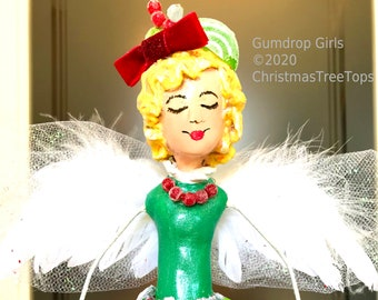 """Candy theme Christmas Tree Top Topper Angel Red Green White Candy tree topper childrens Angel Gumdrop Girls by Christmas Tree Tops 14"""""""