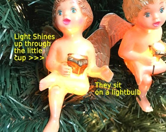 Vintage Christmas Ornaments Cherub Light Covers Hand painted Angel Ornaments mantle garland floral supply Mini light covers One Pair