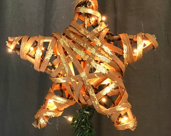 "Christmas Tree topper Star Rustic Woodland Christmas Wood Tree Top Star Topper Gold Leaf Rattan Christmas Tree Star PLUG IN Lights 11.5"""
