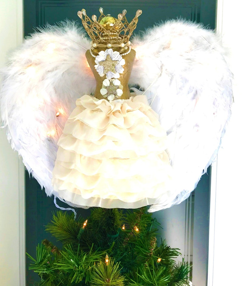 084a8f1bdc526 Angel tree topper Christmas Tree Top Dressform Mannequin | Etsy