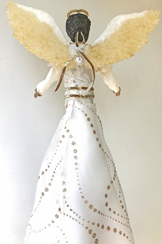 Black Angel Christmas Tree Topper.Black Angel Tree Topper Christmas Tree Top Angel African American Angel Topper Ooak Handmade Contemporary Angel Tree Topper 17 Inches