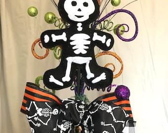 Halloween Tree Topper skeleton bow Tree Top Topper Halloween Decor Cute Family shelter in place Skeleton Decor Halloween decorations
