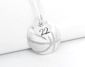 Hand Stamped Basketball Necklace with Heart Charm stamped with Number | Basketball Charm Pendant