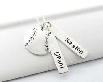 Hand Stamped Baseball Softball Necklace with Two Player's Names | Baseball Mom of Two
