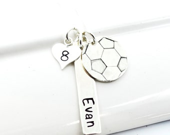 Hand Stamped Soccer Mom Necklace Personalized with Player's Name and Number
