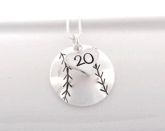 Hand Stamped Baseball Mom Necklace Softball Mom Necklace with Heart Charm stamped with Number