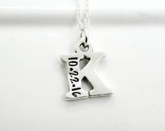 Mother's Initial Necklace Hand Stamped with Birth Dates | Mother's Day Gift