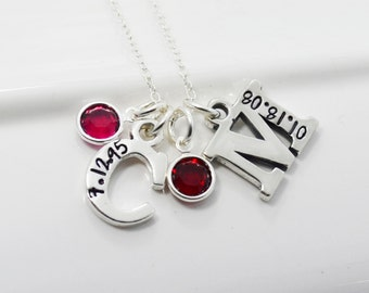 Mother's Necklace Initial Hand Stamped with Birth Dates added with Birthstones