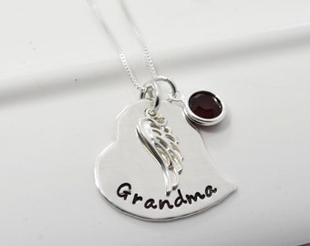 Hand Stamped Personalized Memory Necklace | Heart and Angel Wing Jewelry