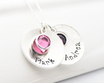 Personalized Hand Stamped Mothers Necklace with Children's names and birthstones.