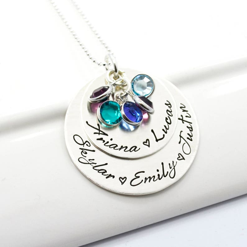 Grandmother Custom Jewelry Mother of Five Personalized Necklace