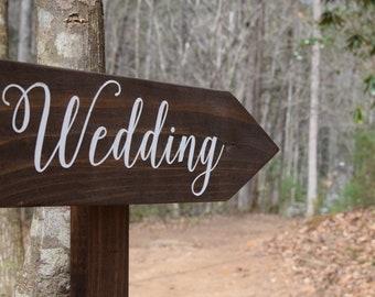 Rustic Wedding Directional Signs, Wood Wedding Signs With Arrow And Stake, Woodland Wedding Direction Signs, Personalized Boho Wedding Decor