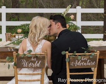 Travel Wedding Chair Signs Destination Wedding Sign, His World Her Adventure Chair Signs, Bride And Groom Sign, Sweetheart Table Decor